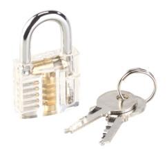 serrure d'entraînement transparente pour apprendre le crochetage avec 2 clés