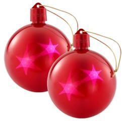 Set de 2 boules de Noël avec LED effet 3D - Rouge