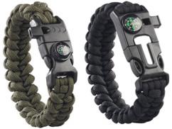 Set de 2 bracelets de survie avec Boussole, sifflet, pierre à feu et couteau