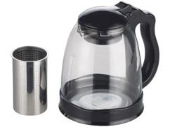 theiere en verre avec passe thé pour infusion feuilles de thé