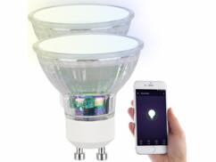 2 ampoules LED RVB CCT connectées GU10 compatibles Alexa et Google Assistant
