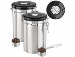 Lot de 2 boîtes à café avec calendrier et cuillères doseuses fournies.