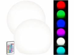 2 boules lumineuses à LED solaires télécommandées RVBB/ 60lm/ IP67/ Ø 30cm