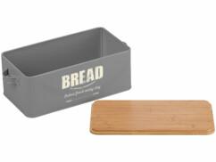 Boîte à pain rétro Rosenstein & Söhne en acier et en bambou.