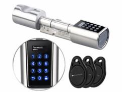 Cylindre de serrure électrique à code + 3 clés à transpondeur TSZ-520