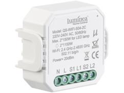 Double interrupteur connecté à commandes vocales Luminea.