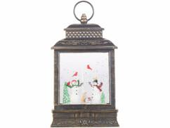 Lanterne à LED de Noël Infactory avec neige tourbillonnante.