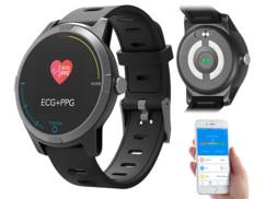 montre sport avec cadran rond couleur tactile application ios iphone android capteur rythme cardiaque ECG tensiometre fbt85 newgen