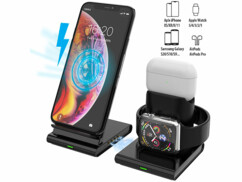 Station de chargement Qi 3 en 1 pour smartphone, Apple Watch et AirPods.