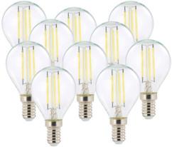 10 ampoules LED à filament - culot E14 - forme Goutte - Blanc