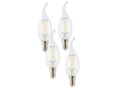 4 ampoules LED à filament - culot E14 - forme Flamme - Blanc