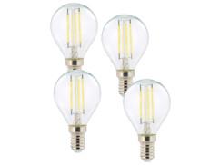4 ampoules LED à filament - culot E14 - forme Goutte - Blanc