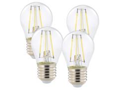 4 ampoules LED à filament - culot E27 - forme Goutte - Blanc