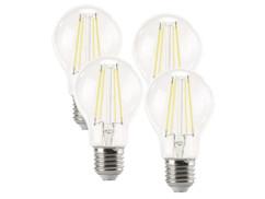 4 ampoules Poire LED à filament A++, E27, 6 W, 806 lm, 360°, Blanc