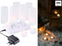 Bougies avec photophores à flamme vacillante rechargeable avec station par Lunartec