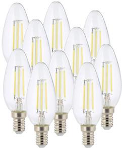 Ampoule LED à filament - culot E14 - forme Bougie - Blanc - x10