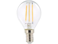 ampoule led a filament design retro avec eclairage 360 forme goutte g45 culot e14 luminea version blanc chaud