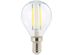 ampoule led a filament design retro avec eclairage 360 forme goutte g45 culot e14 luminea version blanc du jour