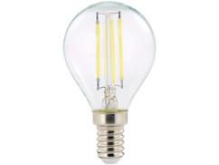 ampoule led a filament design retro avec eclairage 360 forme goutte g45 culot e14 luminea version blanc du jour
