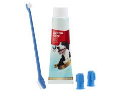 kit hygiene dentaire pour chiens avec dentifrice arome viande double brosse à dents et brosse pour doigt