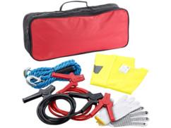 Kit d'urgence auto avec gilet de sécurité, câble de remorquage et de démarrage
