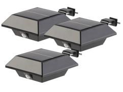 Lampe solaire à LED pour gouttière 160 lm / 2 W avec capteur PIR - x3