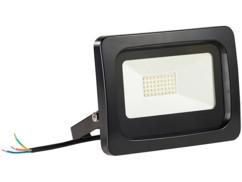 projecteur led haut efficacité energetique 30w blanc froid étanche pluie et neige fixation murale luminea