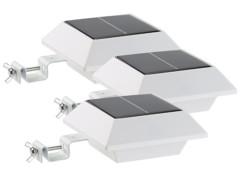 Pack 3 lampes solaires à LED pour gouttière 160 lm 2 W avec capteur PIR - Blanc