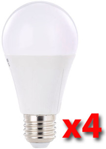 Pack de 4 ampoules LED 8 W E27 classe A+ - Blanc chaud