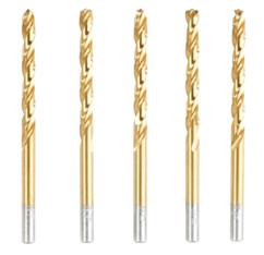 Pack de 5 forets HSS avec revêtement titane - 6 mm