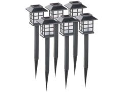 pack de 6 lanternes piquet solaire style lanterne japonaise chinoise avec allumage automatique nuit