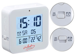 mini reveil digital avec réglage automatique heure radiopilotage thermometre et hygrometre pour humidité ambiante infactory