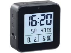 mini reveil digital noir avec réglage automatique heure radiopilotage thermometre et hygrometre pour humidité ambiante infactory