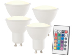Spot LED GU10 RVB & blanc chaud avec télécommande - x4
