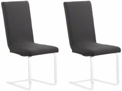 Deux housses de chaise Infactory de couleur noire.