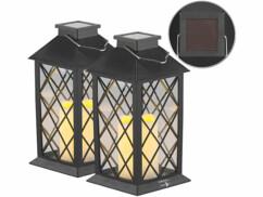 2 lanternes solaires avec bougie LED effet flamme - Capteur d'obscurité