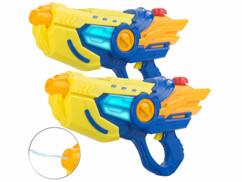 2 pistolets à eau motorisés lumineux avec réservoir de 600 ml