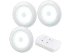lampes led rondes auto-adhésives pour meubles et vitrines avec telecommande