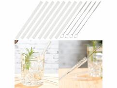 8pailles en verre borosilicate avec 4 brosses de nettoyage