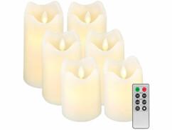 6 bougies télécommandées en cire véritable à luminosité variable et effet flamme