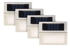 pack de 4 appliques solaires en inox rectangulaires à fixer au mur extérieur