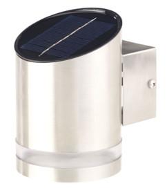 applique murale LED solaire en acier inoxydable avec détecteur style cylindre sans alimentation lunartec