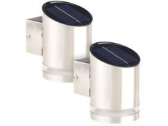 Applique solaire à LED 20 lm en acier inoxydable - x2