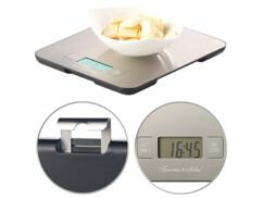 Balance de cuisine numérique en acier inoxydable avec minuterie