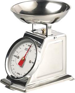 Balance de cuisine rétro analogique en acier inoxydable