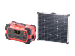 Batterie nomade 216 Ah équipée d'un convertisseur solaire avec un panneau solaire 160 W.