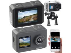 caméra sport action cam gopro 4k uhd avec accessoires et 2 ecrans led avant arriere dv3817 somikon