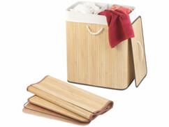 Corbeille à linge en bambou naturel de 100 L