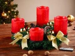 Couronne de l'Avent avec ornements dorés & 4 bougies à LED