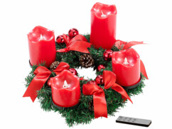 Couronne de l'Avent avec ornements rouges & 4 bougies à LED